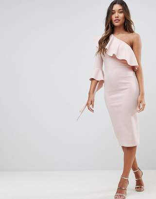 Asos Design One Shoulder Ruffle Midi Dress with Extreme Sleeve