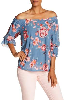 Democracy 3\u002F4 Length Pick Up Sleeve Floral Blouse