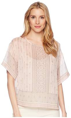 Vince Camuto Drop Shoulder Delicate Diamond Geo Blouse Women's Blouse