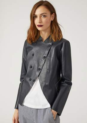 Emporio Armani Jacket In Wet Touch Nappa Leather