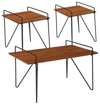 Porter Collection Flash Furniture 3 Piece Coffee and End Table Set in Cherry Wood Grain Finish and Black Metal Legs