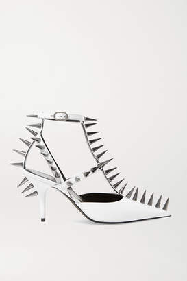 Balenciaga Knife Spiked Leather Pumps - White