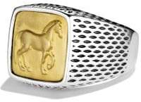 David Yurman Petrvs Horse Signet Ring With 22K Gold