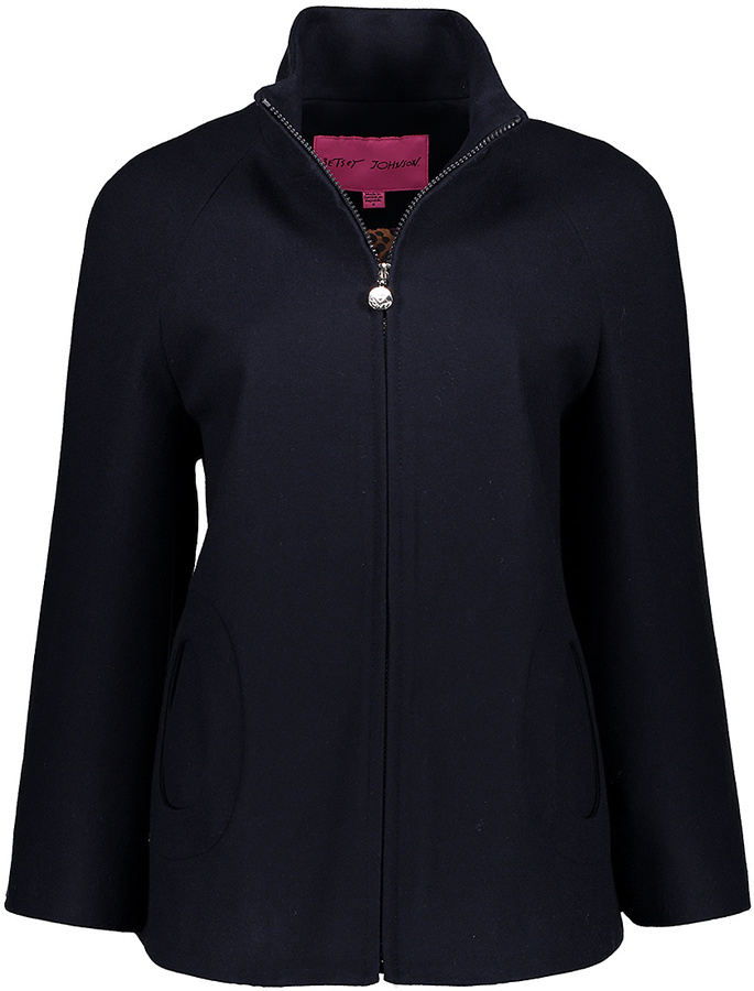 Betsey JohnsonNavy Oval Pocket Wool-Blend Coat
