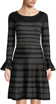 Neiman Marcus Patterned Fit-and-Flare Sweater Dress