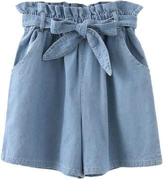 Goodnight Macaroon 'Mira' Chambray Paper Bag Shorts (2 Colors)