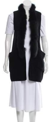 Milly Fur-Trimmed Rib Knit Vest