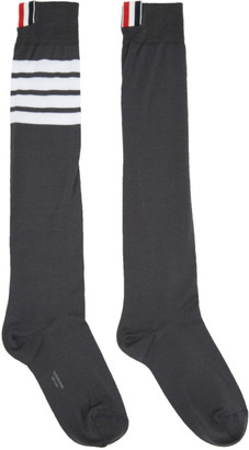 Thom Browne Grey Ribbed Knee-High Four Bar Socks $90 thestylecure.com