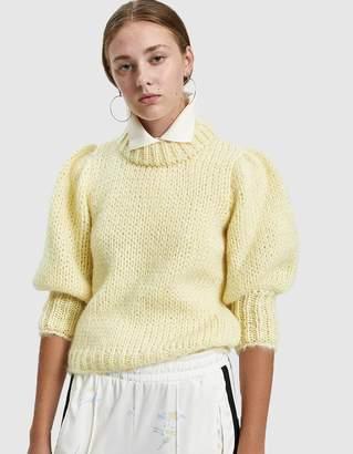 Ganni Julliard Mohair Puff Sleeve Sweater in Anise Flower
