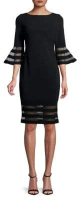Calvin Klein Bell-Sleeve Striped Mesh Dress