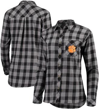 Buffalo David Bitton Unbranded Women's Charcoal/Black Clemson Tigers Plaid Flannel Button-Down Shirt