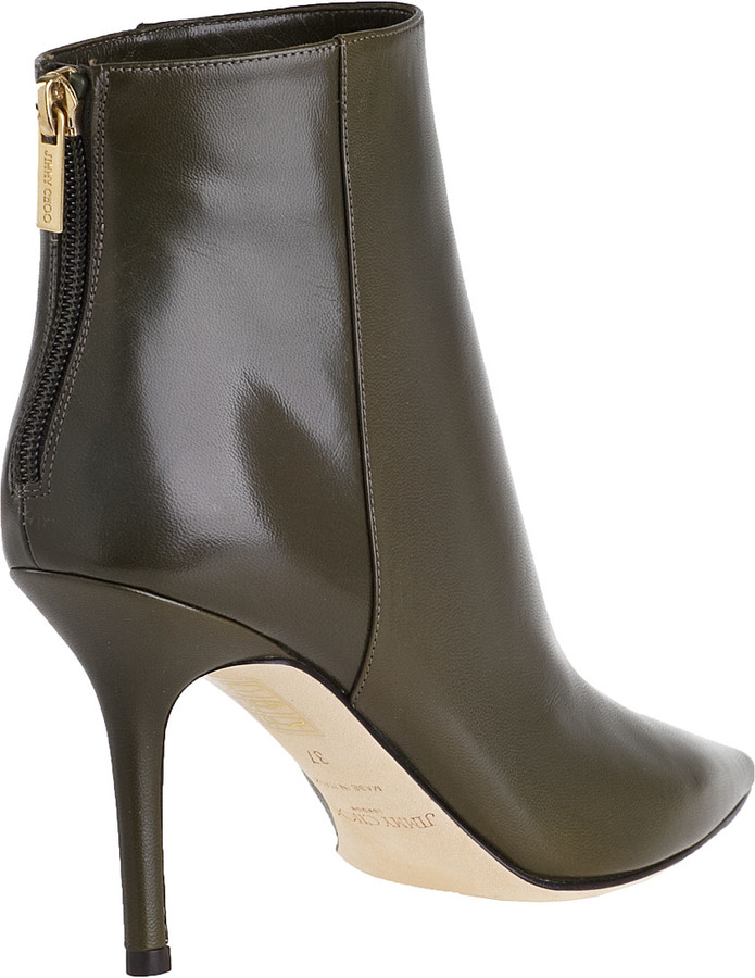 Jimmy Choo Amore Ankle Boot Military Green Leather