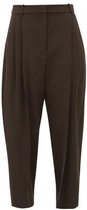 Stella McCartney High Rise Pleated Wool Twill Trousers - Womens - Dark Green