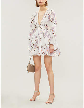 Zimmermann V-neck floral-print crepe mini dress