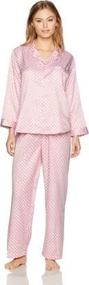 Miss Elaine Women's Petite Printed Brushed Back Satin Pajama