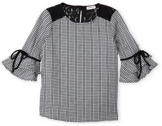 Monteau Girl (Girls 7-16) Gingham Ruffle Sleeve Top