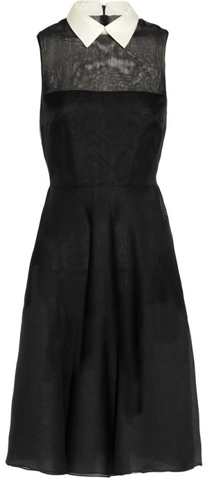 Valentino Contrast-collar silk-voile organza dress
