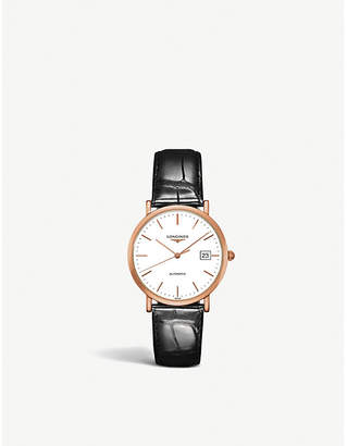 Longines L4.778.8.12.4 Elegant 18ct rose-gold and alligator-leather watch