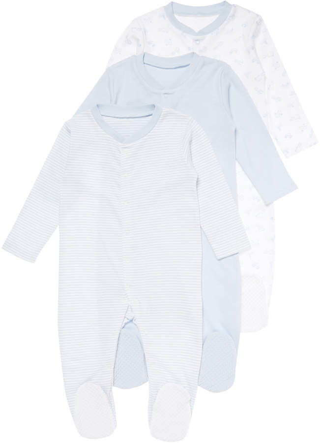 Tu Clothing 3 Pack Blue Sleepsuits