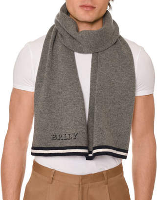 Bally Men's Contrast-Trim Wool Scarf with Logo, Gray