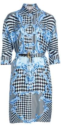 Versace Stamp Print Silk Shirtdress
