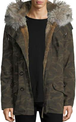 Yves Salomon Men Classic Mid-Length Camo Coat w/Fur Trim