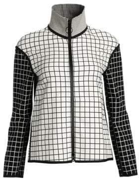 Akris Punto Mixed Grid Zip-Front Jacket