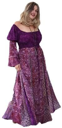 Lotustraders Maxi Dress Peasant Inset Batik Boho 5X Q222