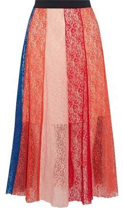Maje Color-Block Corded Lace Skirt