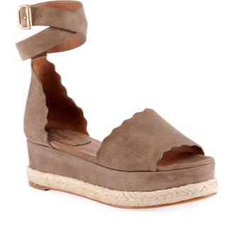 Chloé Scalloped Platform Espadrille Sandal