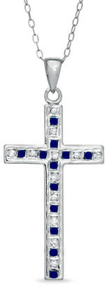 Zales Sapphire Gemstone Fascinationa and Diamond Fascinationa Cross Pendant in Sterling Silver with Platinum Plating