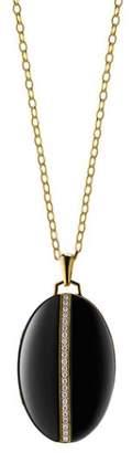 Monica Rich Kosann 18K Yellow Gold and Black Ceramic Diamond Stripe Oval Locket Necklace
