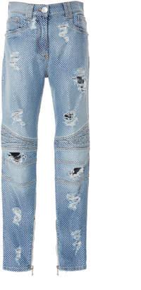 Balmain High-Rise Straight-Leg Biker Jeans