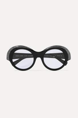 Alexandre Vauthier Alain Mikli Roselyn Round-frame Crystal-embellished Acetate Sunglasses - Black