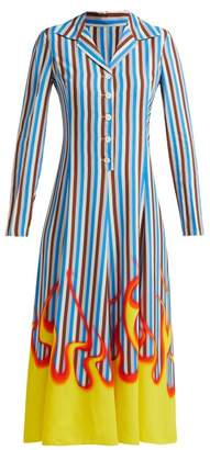 Prada Flame And Stripe Print Satin Twill Midi Dress - Womens - Blue Stripe