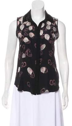 Jason Wu Sleeveless Printed Button-Up