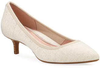 Taryn Rose Niki Stretch Linen Kitten-Heel Pumps