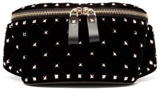 Valentino Rockstud Spike Quilted Velvet And Leather Belt Bag - Womens - Black