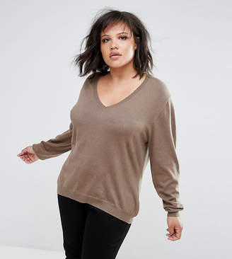 Elvi Brown V Neck Jumper