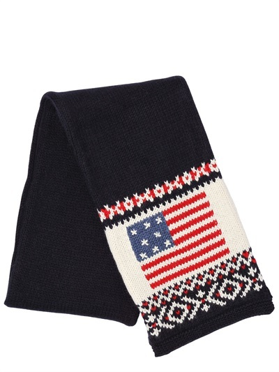 Ralph Lauren Embroidered Knit And Pile Scarf