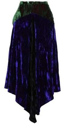 Christopher Kane Asymmetric Two-tone Crushed-velvet Midi Skirt