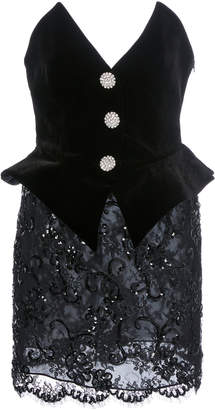 Alessandra Rich Sequinned Velvet And Lace Bustier Mini Dress