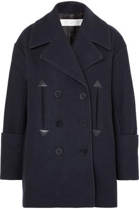 Victoria Victoria Beckham Victoria, Victoria Beckham - Oversized Double-breasted Wool-blend Felt Coat - Midnight blue