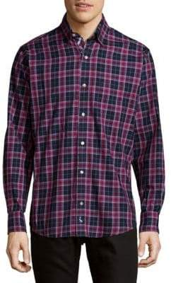 Tailorbyrd Plaid Cotton Button-Down Shirt