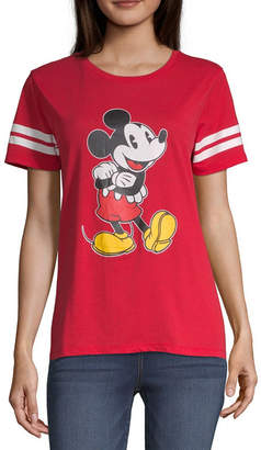 559f6b60b2c Disney Womens Crew Neck Short Sleeve Mickey Mouse Graphic T-Shirt-Juniors