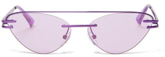 Le Specs X Adam Selman The Coupe Cat Eye Metal Sunglasses - Womens - Purple