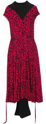 Vetements Paneled Leopard-Print Stretch-Jersey Midi Dress