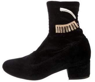 Chiara Ferragni Velvet Ankle Boots