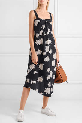 Vince Asymmetric Floral-print Silk-crepe Midi Dress - Midnight blue