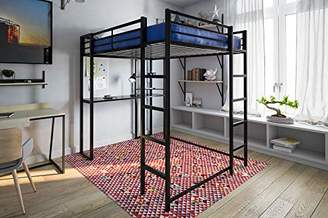 DHP Abode Full-Size Loft Bed Metal Frame with Desk and Ladder